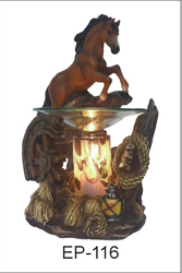 EP-116 BROWN HORSE POLY RESIN OIL BURNER - Poly Resin Electric Oil Burner/fragrance lamp. Price is each pc, its packed 4 pcs to a case.