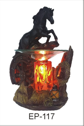 EP-117 BLACK HORSE POLY RESIN OIL BURNER - Poly Resin Electric Oil Burner/fragrance lamp. Price is each pc, its packed 4 pcs to a case.