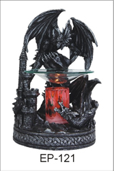 EP-121 BLACK DRAGON POLY RESIN OIL BURNER - Poly Resin Electric Oil Burner/fragrance lamp. Price is each pc, its packed 4 pcs to a case.