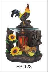 EP-123 ROOSTER POLY RESIN OIL BURNER - Poly Resin Electric Oil Burner/fragrance lamp. Price is each pc, its packed 4 pcs to a case.
