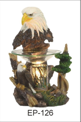 EP-126 BALD EAGLE POLY RESIN OIL BURNER - Poly Resin Electric Oil Burner/fragrance lamp. Price is each pc, its packed 4 pcs to a case.