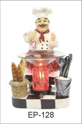 EP-128 CHEF MAN POLY RESIN OIL BURNER - Poly Resin Electric Oil Burner/fragrance lamp. Price is each pc, its packed 4 pcs to a case.