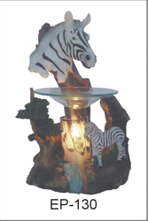 EP-130 ZEBRA HORSES POLY RESIN OIL BURNER - Poly Resin Electric Oil Burner/fragrance lamp. Price is each pc, its packed 4 pcs to a case.