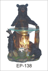 EP-138 GRIZZLY BEARS POLY RESIN OIL BURNER - Poly Resin Electric Oil Burner/fragrance lamp. Price is each pc, its packed 4 pcs to a case.