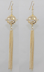 ER101313-GD - HOT SELLING GOLD PLATED EARRINGS OVER COPPER. FANCY AND PRETTY. TOTAL LENGTH 6.8 INCH LONG. GRADE A CRYSTAL, VERY SPARKLY.