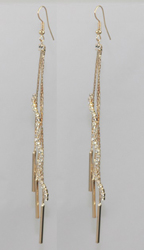 ER101321-GD - HOT SELLING GOLD PLATED EARRINGS OVER COPPER. FANCY AND PRETTY. TOTAL LENGTH 6.8 INCH LONG. GRADE A CRYSTAL, VERY SPARKLY.