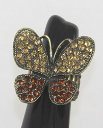 ESR53GD - TRENDY STRETCH RINGS, FITS ANY SIZE FINGER. GRADE A RHINESTONE PAVED, VERY NICE.