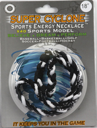 SEN01 BLACK /WHITE SPORTS ENERGY NECKLACE - SUPER CYCLONE SPORTS ENERGY NECKLACE, GREAT RETAIL VALUE!