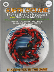 SEN02  RED/BLACK  SPORTS ENERGY NECKLACE -  SUPER CYCLONE SPORTS ENERGY NECKLACE, GREAT RETAIL VALUE!