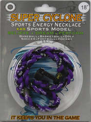 SEN03  PURPLE/BLACK  SPORTS ENERGY NECKLACE - SUPER CYCLONE SPORTS ENERGY NECKLACE, GREAT RETAIL VALUE!