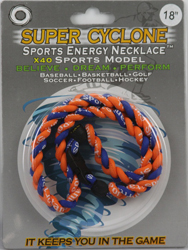 SEN04  ORANGE/BLUE  SPORTS ENERGY NECKLACE - SUPER CYCLONE SPORTS ENERGY NECKLACE, GREAT RETAIL VALUE!