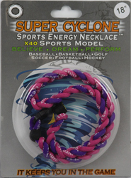 SEN06  PINK/PURPLE  SPORTS ENERGY NECKLACE - SUPER CYCLONE SPORTS ENERGY NECKLACE, GREAT RETAIL VALUE!