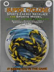 SEN07  YELLOW/BLACK  SPORTS ENERGY NECKLACE - SUPER CYCLONE SPORTS ENERGY NECKLACE, GREAT RETAIL VALUE!