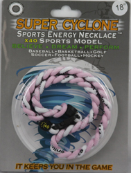 SEN09 PINK/WHITE  SPORTS ENERGY NECKLACE - SUPER CYCLONE SPORTS ENERGY NECKLACE, GREAT RETAIL VALUE!