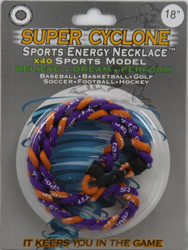 SEN11  PURPLE/GOLD   SPORTS ENERGY NECKLACE - SUPER CYCLONE SPORTS ENERGY NECKLACE, GREAT RETAIL VALUE!