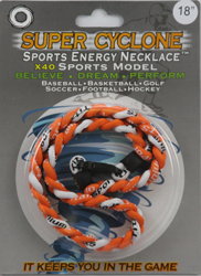 SEN12  ORANGE/WHITE   SPORTS ENERGY NECKLACE - SUPER CYCLONE SPORTS ENERGY NECKLACE, GREAT RETAIL VALUE!